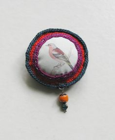 Colorful Robin crochet brooch by pompomdesign on Etsy, $23.00