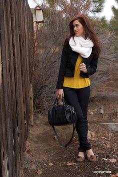 Fall Clothing, black blazer, infinity scarf and mustard yellow top with skinny jeans. Comfortable style.