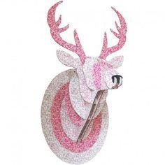 Trophée enfant carton tête de cerf rose