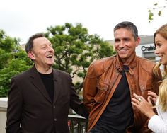 Michael Emerson and Jim Caviezel visit 'Extra' at The Grove on May 1, 2012 in Los Angeles, California