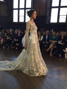 Stunning metallics at - this long-sleeved beauty is style Michaela Short Wedding Gowns, Unique Wedding Gowns, Wedding Tiaras, Wedding Veil, Designer Wedding Dresses, Boho Wedding, Claire Pettibone, Bridal Fashion Week, Summer Wedding