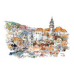 Beautiful travel sketch from Czechia.