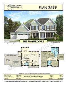 Plan the maybrooke- two story house plan - greater living architecture - residential architecture Two Story House Plans, Family House Plans, Two Story Homes, Facade Architecture, Residential Architecture, Building A House, Sims Building, My Dream Home, Dream Homes