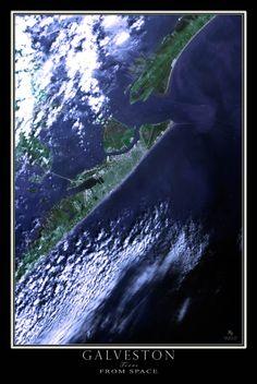 Galveston Texas Satellite Poster Map|| Sand 'N Sea Properties LLC, Galveston, TX #sandnseavacation #vacationrental #sandnsea