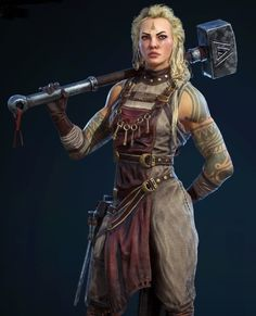 I like how the front is reminiscent of Norse dresses, but morphed to be functional for fighting. Great tattoos.