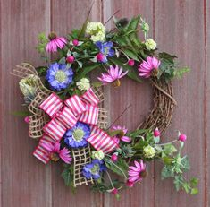 Mothers Day Wreath,Spring Wreath, Wildflower Wreath, Rustic Grapevine Wreath, Rustic Wildflower Wreath, Front Door Wreath, Housewarming Gift by HilltopRustics on Etsy https://www.etsy.com/listing/507029585/mothers-day-wreathspring-wreath