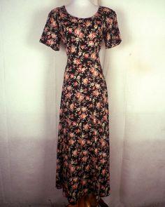 vtg 80s 90s euc Up Front Black Floral Hippie Dress Boho floral GRUNGE punk L/XL