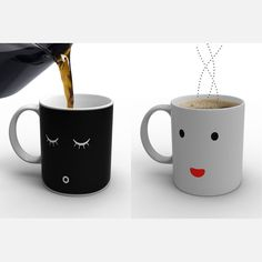 Morning Mug white, black, tabletop