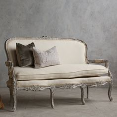 Vintage Louis XV style settee in distressed oyster finish $1,755.00 #thebellacottage #shabbychic #eloquence
