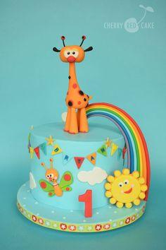 Safari Birthday Cakes, 1st Birthday Cake For Girls, Baby Birthday Cakes, Birthday Treats, Baby Tv Cake, Baby Boy Cakes, Friends Cake, Samara, Tiana