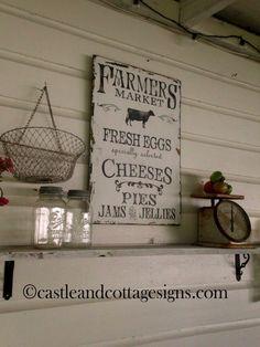 Ferme vintage Farmers Market signe peint à la par castleandcottage