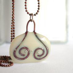 Copper and Cream. A fused glass pendant necklace. Copper wire fused in glass.