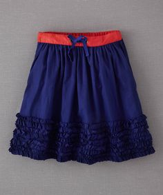 Take a look at this Marine Blue Ruffle-Hem Skirt - Infant, Toddler & Girls on zulily today!