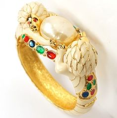 Hattie Carnegie Cream Enamel Baroque Mabe Pearl Lions Bangle Bracelet