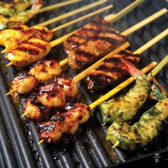 Curried Chicken Satay with Fresh Mint-Soy Vinaigrette .