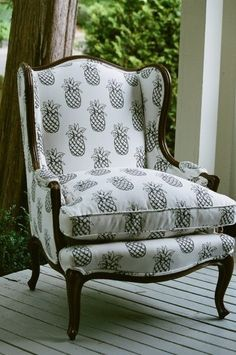 Ok, so now we want to swap out every chair in the Yonanas office with these fun pineapple print wingback chairs!