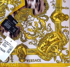 "VERSACE gilded BAROQUE border brown ANIMAL Print 35""-Sq Silk scarf NWT Authentic #Versace #Scarf #Any"