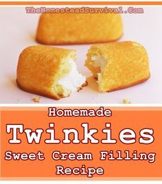 Homemade Twinkies Sweet Cream Filling Recipe - The Homestead Survival Twinkie Filling Recipe, Twinkie Cake Recipes, Twinkie Desserts, Cake Filling Recipes, Homemade Cake Recipes, Frosting Recipes, Cupcake Recipes, Baking Recipes, Dessert Recipes