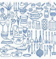 Set of hand drawn cookware vector doodle kitchen by Vodoleyka on VectorStock®