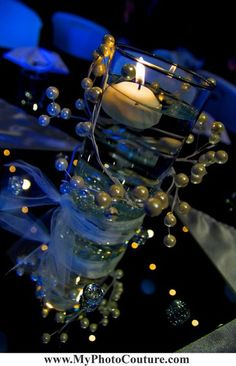 #center #piece #blue #light #candle #wedding #photography @My Photo Couture