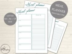 Meal Planner Grocery List Printable Page  Weekly by DoortjeDesign