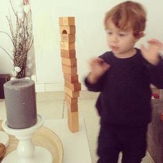 """""""Waiting for the blocks to fall.. Just to start building again ☺️♻️ @galazki #woodenstory #woodenblocks #ecotoy #greentoy #woodentoy #beeswax…"""""""