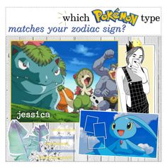 """""""which pokémon type matches your zodiac?"""" by illicit-tips ❤ liked on Polyvore featuring art, tipsbyjez and joodysmuffins"""