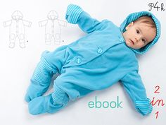 """Baby Overall pattern, Jumpsuit, one-piece, one piece, Baby Sleep Sack, Sewing Pattern, Ebook PDF, 3 6-9 12 18m, """"Dorian"""" Pattern4kids Very nice Coverall for cold days and nights. Variant A: With ears at hood and practical cuffs at arms- and legs Variant B: Without cuffs at arms and legs Recommended fabric: Fleece, velour knits or sweat knits, single jersey lining in a contrast colour Ebook for printing on A. Instructions with many pictures of the steps. Easy! Sizes ..."""