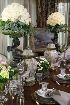 Love these for floral! -Antique Accessories, fresh flowers, polished silver and shimmering crystal - Ready to entertain! Elegant Table Settings, Beautiful Table Settings, Setting Table, French Decor, French Country Decorating, Deco Floral, Floral Design, Design Design, Casa Magnolia