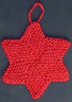 Learning how to knit Christmas ornaments has never been this much fun. - Learning how to knit Christmas ornaments has never been this much fun. Anyone can enjoy this Six Pointed Star Christmas Ornament, and best of all, it's easy to make! Knitted Christmas Decorations, Knit Christmas Ornaments, Noel Christmas, Xmas, Christmas Knitting Patterns, Knitting Patterns Free, Crochet Patterns, Free Pattern, Easy Knitting