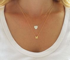 Gold Layered Necklaces Set Initial Necklace White Opal Heart Necklace Opal Jewelry Heart Charm Necklace Gold Letter Necklace - Jewelry - Ideas of Jewelry - Layering necklace set Initial necklace Opal heart by HLcollection Dainty Necklace, Dainty Jewelry, Opal Jewelry, Simple Necklace, Bridal Jewelry, Fine Jewelry, Gold Necklace, Pendant Necklace, Gold Bracelets