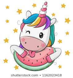 Cute Cartoon Unicorn with watermelon vector art illustration Unicorn Drawing, Cartoon Unicorn, Unicorn Art, Cute Unicorn, Cartoon Pig, Easy Cartoon, Baby Unicorn, Watermelon Cartoon