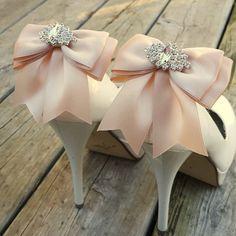 Rose Quartz Wedding Shoe Clips,Bridal Shoe Clips,  MANY COLORS, Satin Bow Shoe Clips, Bridesmaids, Clips for Wedding Shoes, Bridal Shoes by ShoeClipsOnly on Etsy