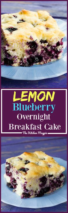 Lemon Blueberry Overnight Breakfast Cake! Make the batter the night before, put it in the fridge and bake it the next morning! It's the perfect weekend or holiday treat!