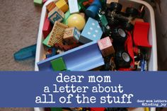 Dear Mom a Letter About All of the Stuff - why the stuff doesn't define motherhood - Success isn't defined by a cart full of stuff, but it's in keeping our cool when we say no and the toddler throws a fit in the store next to the stuff. It's not the physical things, but in the giving of self. #motherhood