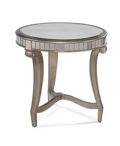 Celine Silver Wood Glass Round End Table
