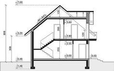 Przekrój pionowy projektu Dom przy Alabastrowej 33 Model House Plan, House Plans, 100 M2, Study Office, Design Case, Aquaponics, Modern House Design, Home Projects, Future House