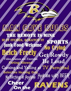 Baltimore Ravens Man Cave Rules Wall Decor Sign Printable Digital File