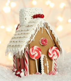 red and white gingerbread house