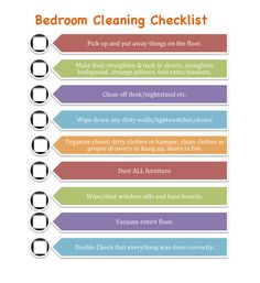 clean bedroom checklist for kids | Youll also notice the last thing on each list is: Double check that ...
