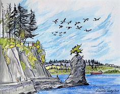 Granville Island, Canadian Artists, Ink Painting, Vancouver, Watercolor, Colour, Landscape, Gallery, Photography