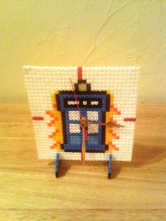 Dr Who - Tardis Hama Bead Clock Handcrafted £8.00