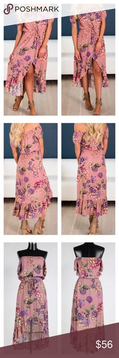 "Arrived!! Floral Off Shoulder High Low Dress Mode -height 5'7, Bust 32D, Waist 25, Hips 34 wearing a size small.  Material- 100% Rayon This dress is fully lined. Bust is not padded. Fits true to size.   Our sizes are approximate and there is no guarantee that the item will fit you perfectly. Color and pattern cut may appear slightly different in person and on other devices.                                            Length: Small-36"", Medium-36"", Large-37"" Bust: 34"", 36"", 38"" Dresses High…"