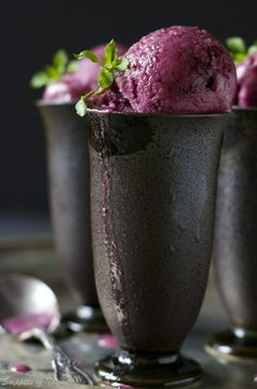 winter mixed berry and citrus sorbet. I had only ever made ice cream but I love to eat sorbet and this recipe was easy and delicious! Köstliche Desserts, Frozen Desserts, Frozen Treats, Dessert Recipes, Gelato, Mixed Berry Sorbet, Fruit Sorbet, Mantecaditos, Mixed Berries