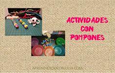 4 manualidades y juegos con pompones de colores.  JUEGOS PARA COMPLETAR POR COLORES O SEGUIR COMPOSICIONES Con imprimible