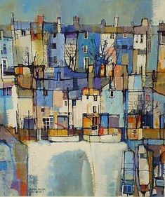 MARTIN PROCTER (born 1942) mixed media 'City Wharf