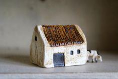 Clay Houses, Ceramic Houses, Ceramic Figures, Miniature Houses, Doll Houses, Miniature Dolls, Putz Houses, Cardboard Sculpture, Cardboard Art