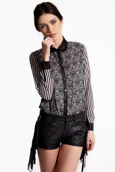 Boutique Alicia Tile Print + Stripe Shirt >> £20.00#boohooboutique