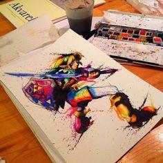 Link watercolor by Tatoo Geek, Rainbow Games, Ocarina Of Times, Graffiti Doodles, Gaming Tattoo, Lisa, Video Game Art, Video Games, Geek Art