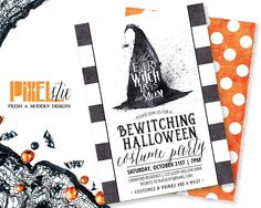 Not Every Witch Lives in Salem - Halloween Costume Party Invitation - Striped Halloween Party Invitation - Halloween Invitation - Witch Hat by shopPIXELSTIX on Etsy